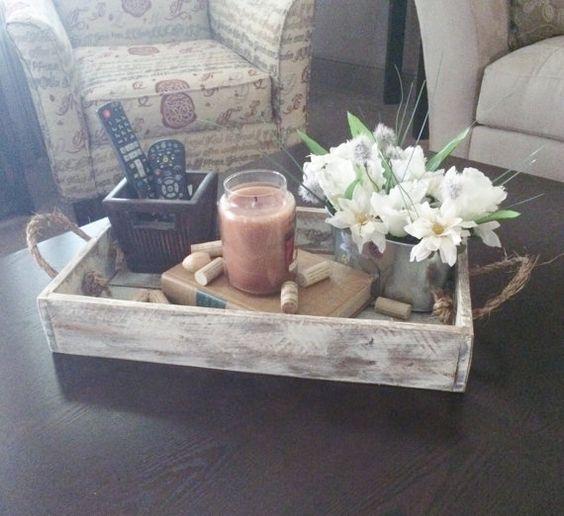 Wood tray rustic serving decor