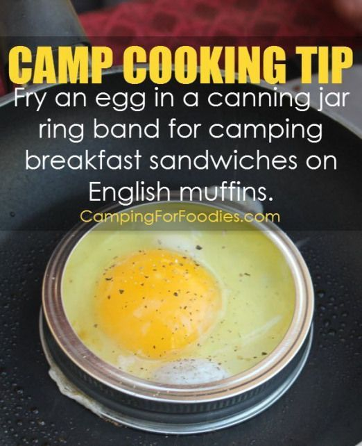 Conseil De Cuisson Camp Outdoor Faites Cuire Un œuf A L Interieur D Un Anneau De Bocal De Conserve New Ideas Cocina Camping Acampar Consejos