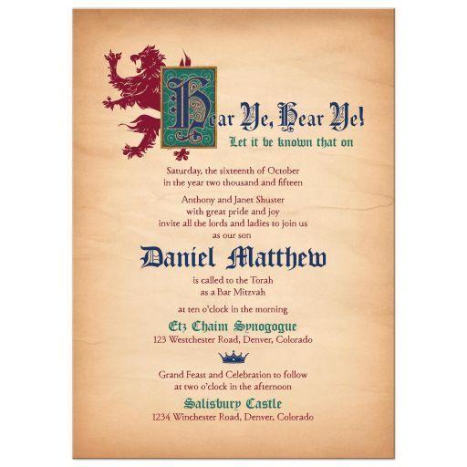 medieval bar mitzvah invitation