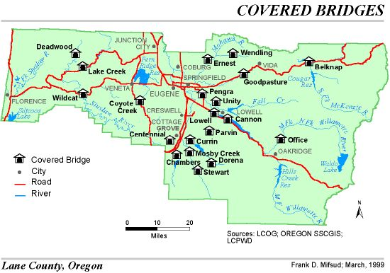 Map of Lane County Covered Bridges Places I would like to Go