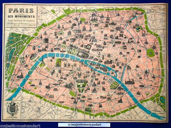 D tails sur VINTAGE MAP OF PARIS POSTER PRINT FRANCE FRENCH EIFFEL – Map of Paris with Monuments