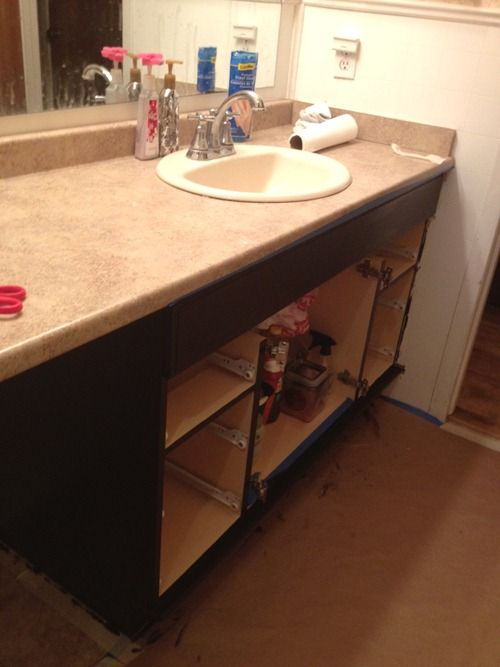 Staining oak cabinets an espresso color diy tutorial stains stain cabinets and vanities for How to stain a bathroom vanity