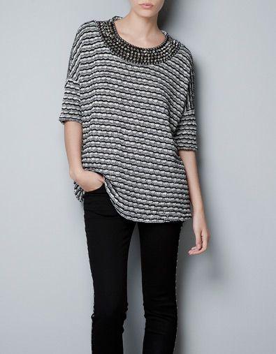 SWEATER WITH SPIKY COLLAR - Knitwear - TRF - ZARA United States