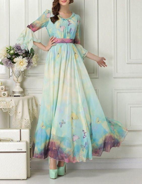 Maxi+dress+chiffon+dress+summer+dress+Printed+chiffon+by+1000love,+$134.99