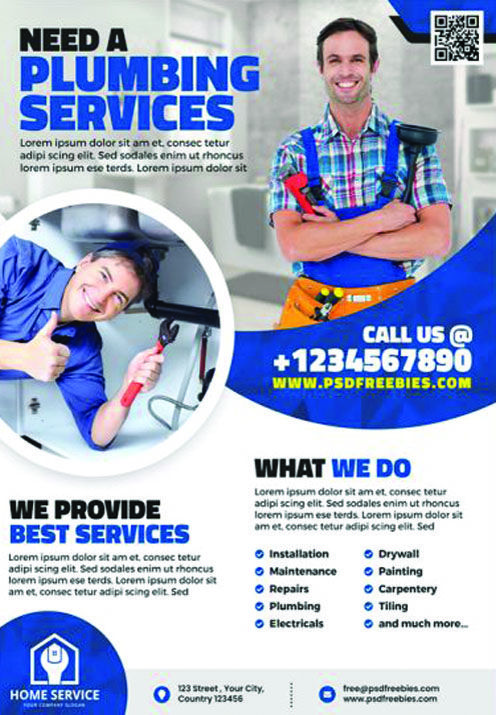 Plumbing Service Flyer Template Psd Psdfreebies Com In 2020 Flyer Template Digital Marketing Design Flyer Layout