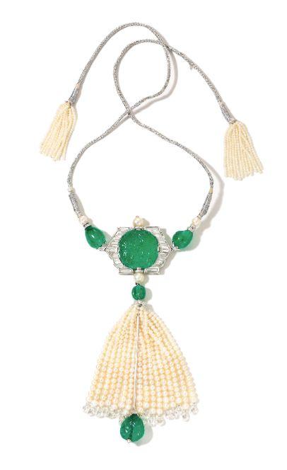 Viren Bhagat. Diamond, emerald & pearl tassel necklace...♡