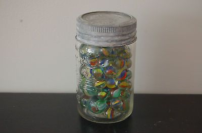 Vintage Antique 1947 Crown Jar filled with Marbles Multi-colour Clear Glass - http://hobbies-toys.goshoppins.com/marbles/vintage-antique-1947-crown-jar-filled-with-marbles-multi-colour-clear-glass/