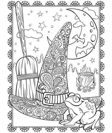 17 Printable Coloring Pages To Help You Instantly Start De Stressing In 2020 Witch Coloring Pages Halloween Coloring Sheets Crayola Coloring Pages