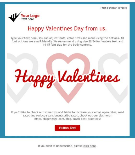 Valentines Day Email Templates From Bigengage Free Email Templates