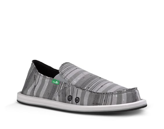 Sanuk Men's Donny Sidewalk Surfers in Grey Vintage Denim Stripe