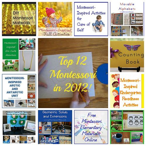Top Montessori-Inspired Posts from 2012 - lots of Montessori-inspired activities and DIY materials