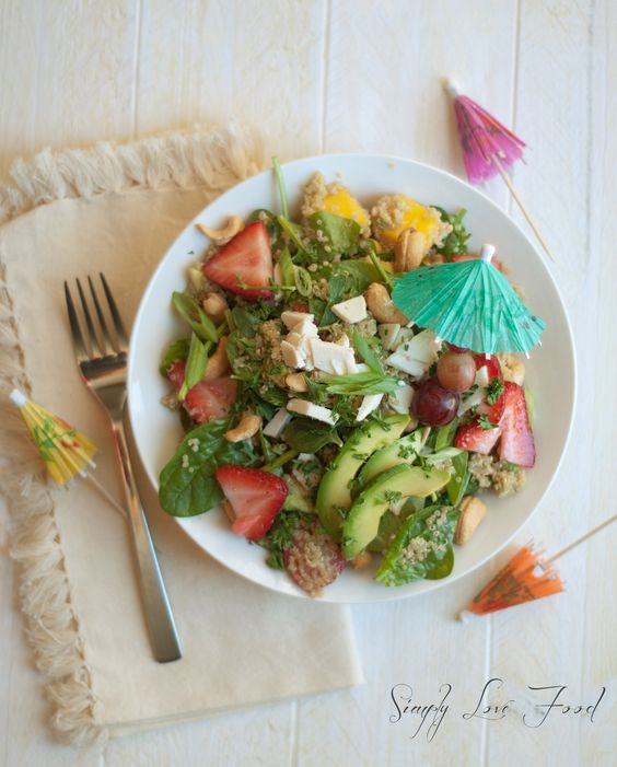 Tropical Quinoa Salad with agave lime dressing
