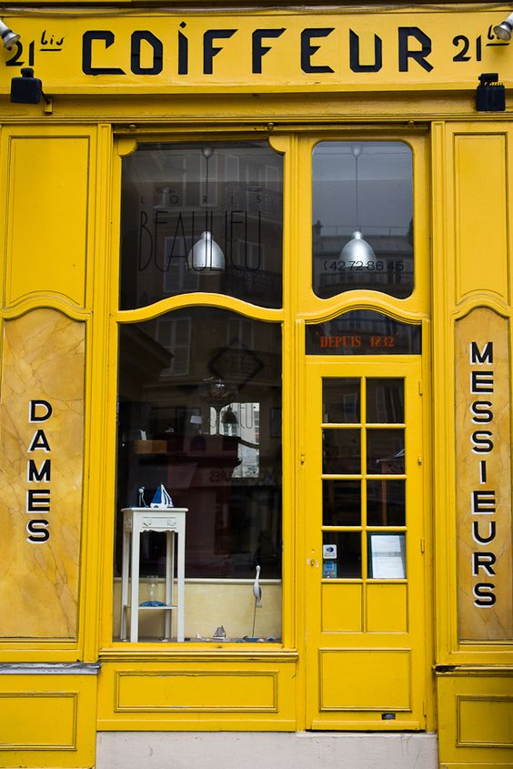 Door - Hairdressers shop in Paris, France.