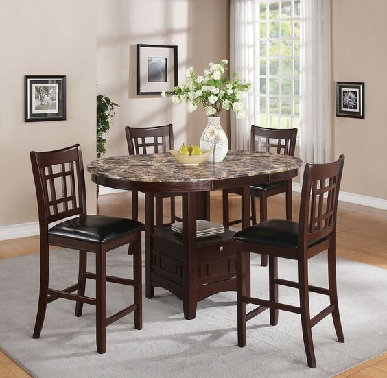 5 pc Jovan collection rich brown finish wood and faux  : 1a60f343d86d93031df0e5bafc3d192a from www.pinterest.com size 564 x 551 jpeg 53kB
