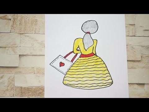 رسم سهل تعليم رسم فتاة تحمل شنطة بسهولة رسم بنات كيوت Youtube