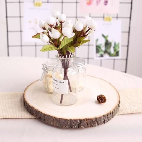 12 Dia Rustic Natural Wood Slices Round Poplar Wooden Slab Table Centerpiece In 2020 Wooden Slab Table Rustic Party Decor Slab Table