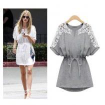 Grey Fashion New Crew Neck Women Mini Tunic Short Floral Lace Casual Korea Dress