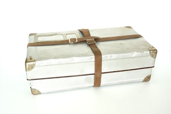 Vintage Airway Silver Metal Shipping Box with Canvas Straps - Hard-to-Find Large Storage Box, Industrial Home Decor, and more. $160.00, via Etsy.