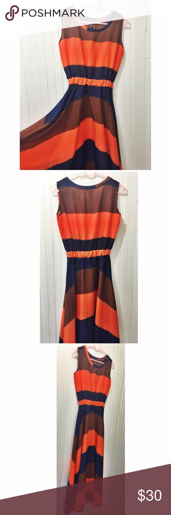 Modern striped A-line dress Orange, blue, and brown striped dress. Not a true maxi, more like 3/4 length unless you are petite. Fits like XS but would fit S with small bust and waist. H&M for exposure H&M Dresses