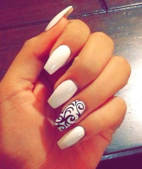 Uñas acrilicas blancas , White Acrylic Nails