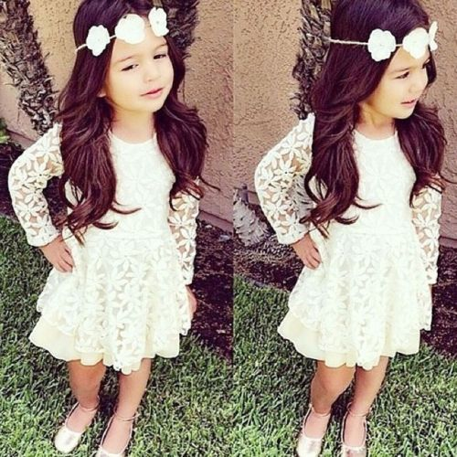 New Kids Toddler Baby Girl Clothes Skirt White Lace Fancy Tutu ...