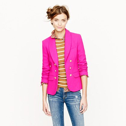 love the color combination of this outfit. the blazer in vintage berry just pulls the whole thing together. look from j. crew.