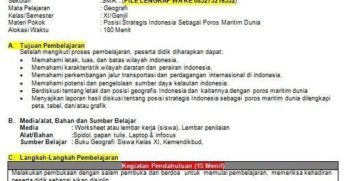 Rpp 1 Lembar Bahasa Indonesia Kelas Xi Semester 1 Geografi Matematika Kelas 4 Model Pembelajaran