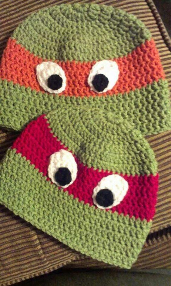 Crochet Pattern For Ninja Turtle Blanket : Crochet ninja turtle hat FREE face pattern Hats ...