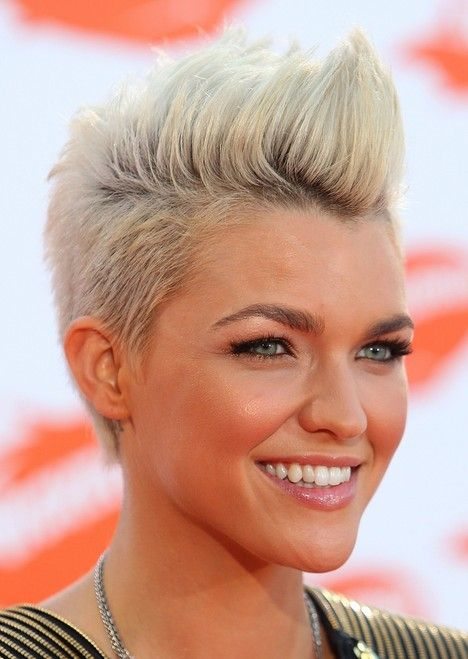 Celebrity Ruby Rose Short Blonde Fauxhawk Hairstyle. Completely in love with this look.