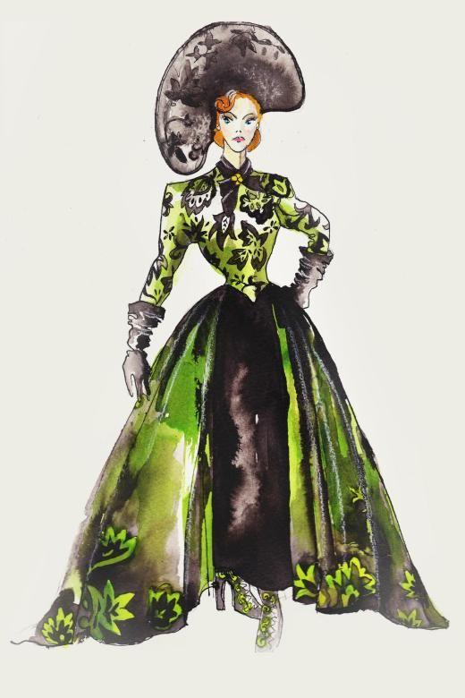 Sandy Powells Skizze für das Design des giftgrünen Kostüms der bösen Stiefmutter bei ihrer Ankunft.