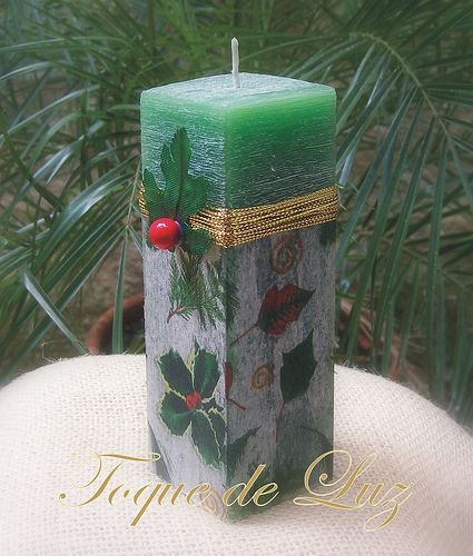candle decoupage christmas