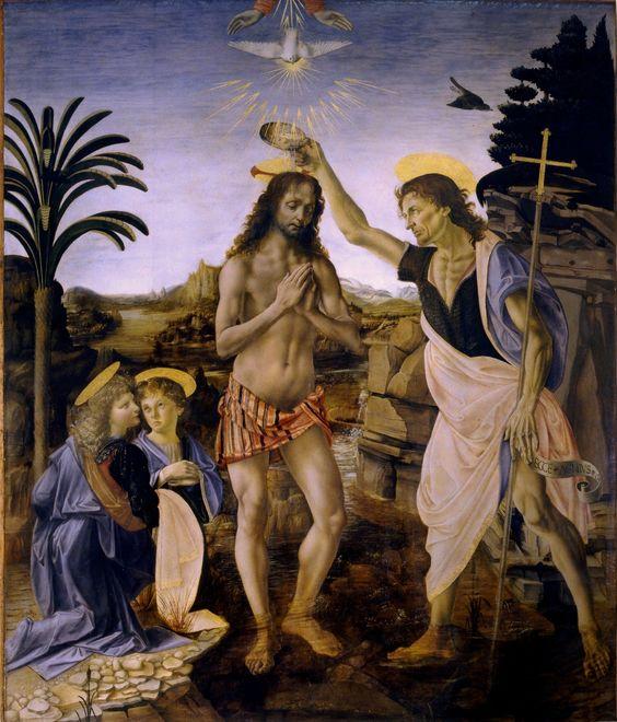 O Batismo de Cristo de Andrea Verrocchio - Foi por causa dos anjos pintados por Leonardo da Vinci que Verrocchio desistiu de pintar, dizendo que o pupilo havia superado o mestre.