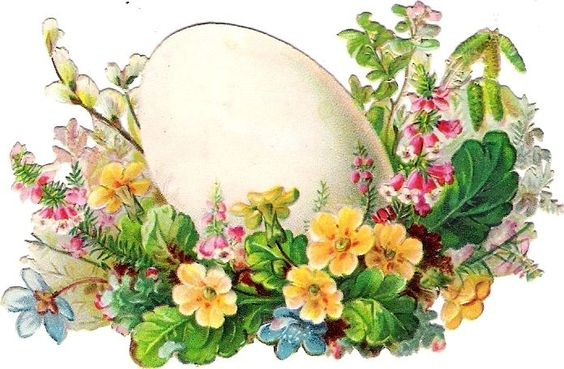 Oblaten Glanzbild scrap die cut chromo 9cm  Ostern easter  Ei egg Blume flower:
