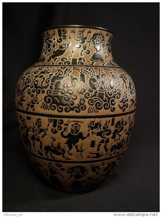 Ancien Vase Céramique Viêt Nam Biên Hoà Indochine Oriental Saïgon Vietnamien Vietnam Ceramic