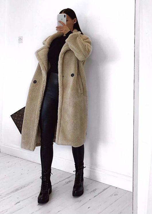 Longline Borg Teddy Coat Beige | Roupas simples inverno