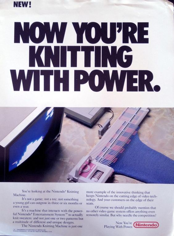 A recently-surfaced 1980s brochure reveals that Nintendo nearly released a knitting add-on for the NES. *i'd love that*
