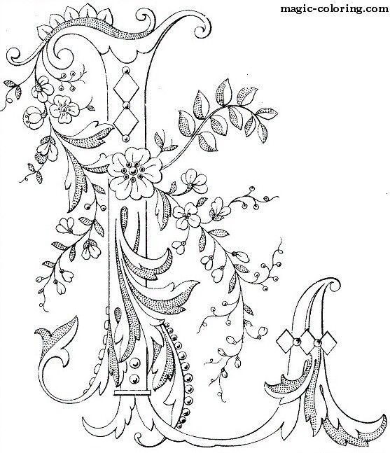 Magic Coloring Flowered Monograms 3 Coloring Pages Embroidery Patterns Alphabet Coloring Pages