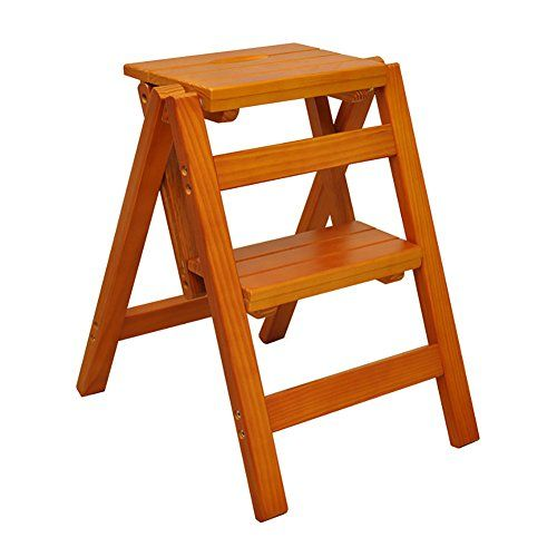 Step Ladder Vintage Small Wooden Folding Step Stool Industrial