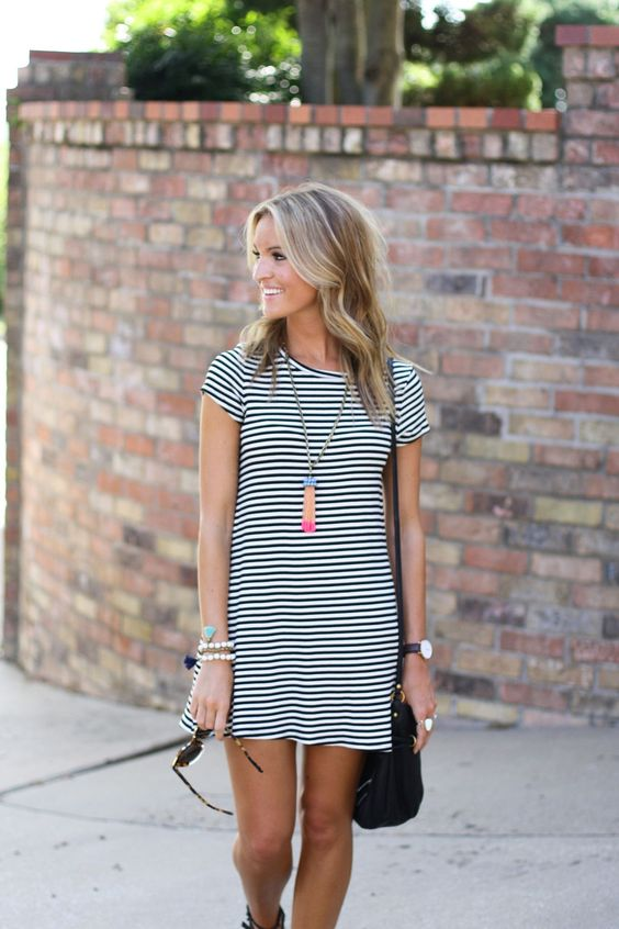 Style Blogger, Lauren Sims in our Sam Striped Dress. Available on www.norestforbridget.com. #styleblogger: