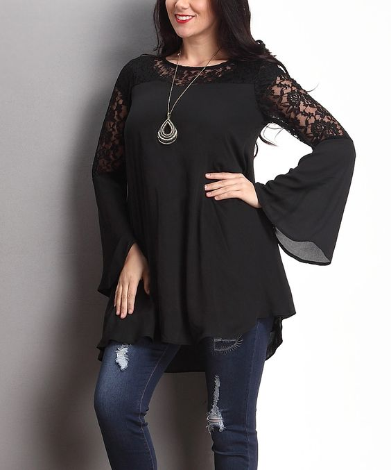 Look at this Black Lace-Sleeve Swing Tunic - Plus on #zulily today!