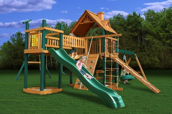 Outdoor playsets with monkey bars plans pioneer peak for Log swing plans