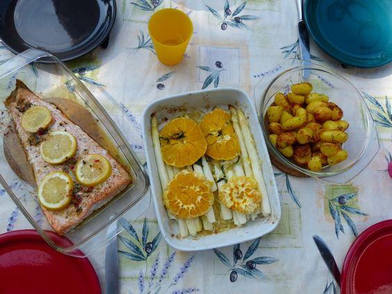 Ofenspargel, Lachs & Ofenkartoffeln