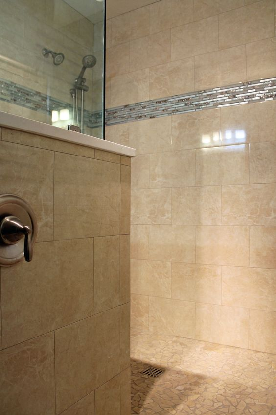 Large Tile Shower Tile Showers And Travertine On Pinterest