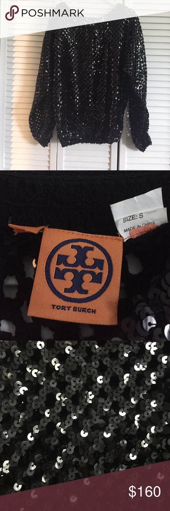 Tory Burch Black Sequin Knit Sweater Beautiful!!! Tory Burch Black Knit Sequin Sweater. Only worn 1 time. No flaws and no damage. Looser fit on top and stretch band around the waist. Tory Burch Sweaters Crew & Scoop Necks