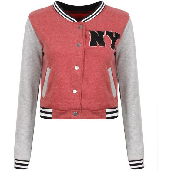 Wine Red Cropped Baseball Jacket (23 AUD) ❤ liked on Polyvore ...