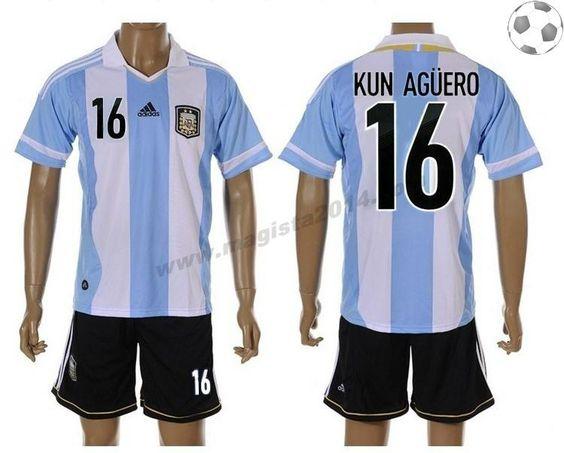 Argentine Maillot Kun Agero 16 Domicile 2012-2013 FT8831