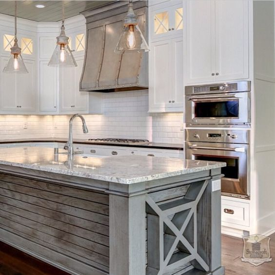 Gray and white kitchen, Gray island and Islands on Pinterest
