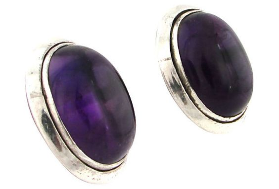 Amethyst Crystal Cabochon & Silver Earrings by Ruby + George on @One Kings Lane