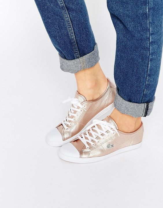 Image 1 of Lacoste Ziane 116 Rose Gold Lace Up Plimsoll Trainers