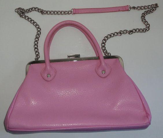 Candy Pink Leather Handbag Shoulder bag by Cosasraras on Etsy, $20.00